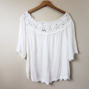 NWOT Staccato White Lace Detail Off Shoulder Top